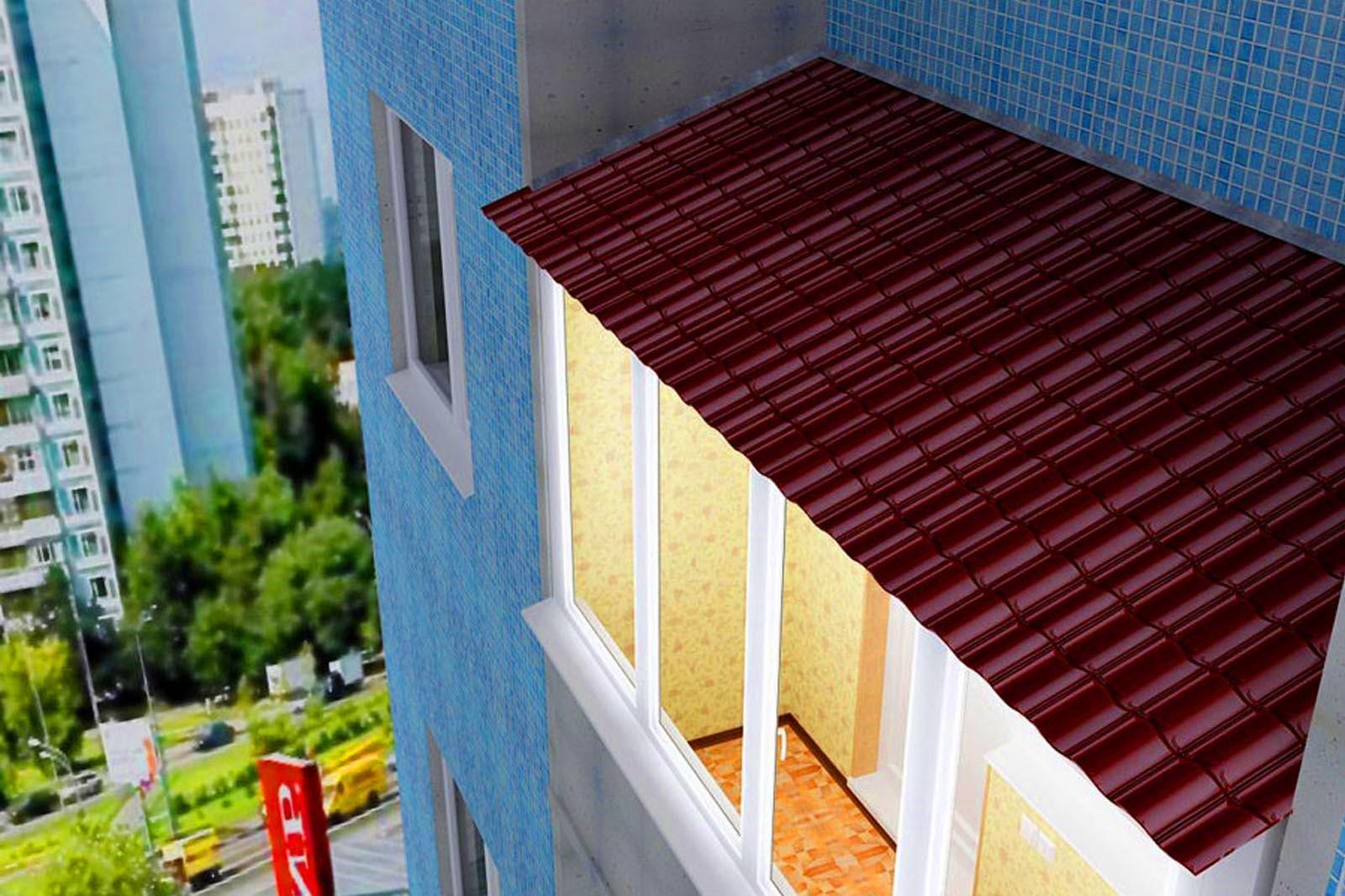 Установка крыши балкона